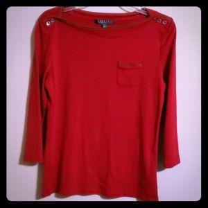 Red straight neck Ralph Lauren top